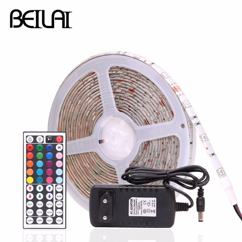 RGB LED Strip 5050 Waterproof DC 12V 30LEDs/m 10m 5m 1m RGB LED Flexible Light Strip with Power and 44Key IR RF Controller