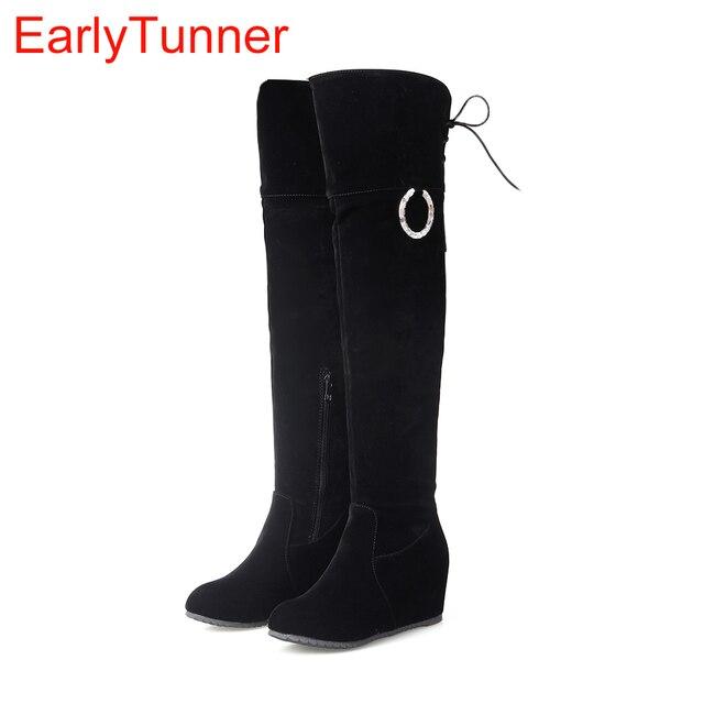 Brand New Ngọt Mùa Đông Phụ Nữ Đùi Cao Boots Đen Beige Pink Lady Over the Knee Nude Giày Nêm Gót Chân ET56s Cộng Với kích thước Lớn 43 10