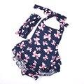 Девочка одежда для новорожденных цветочные ползунки установить хлопка ползунки + повязка Крещение Партия O-образным Вырезом Новорожденных Летней Одежды