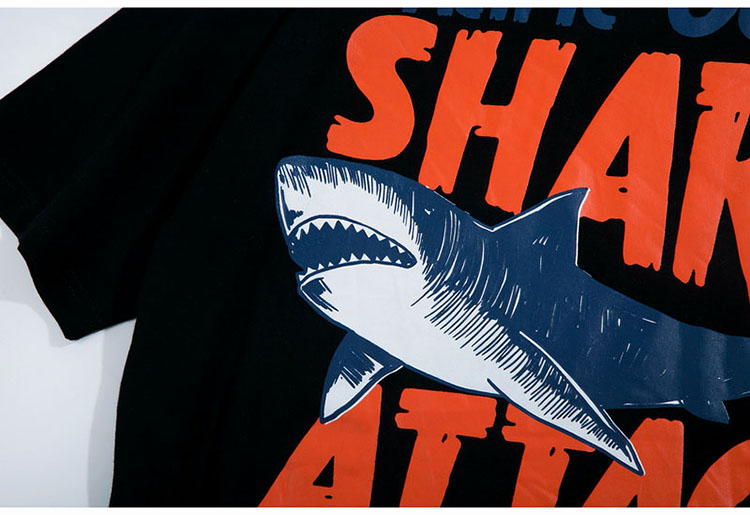 Aolamegs T-shirt Men Dangerous Big Shark Printed Short Sleeve Tee shirt Fashion Street Hip Hop Creative Tops Couples T shirts (14)