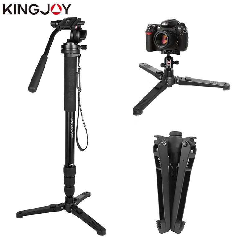 Kingjoy MP3008 + KH-6750 Professional Monopod Dslr 카메라 삼각대 스탠드 모든 모델에 대해 Para Movil Flexible Tripe Stativ SLR DSLR