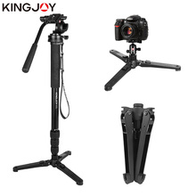 KINGJOY MP3008+KH-675 Professional Aluminum Camera Video Photo Tripod Monopod with Damping Fluid Drag Head for Canon Nikon Sony kingjoy kh 6750 flexible aluminum camera tripod head fluid video tripod head for canon nikon and other dslr cameras f20859