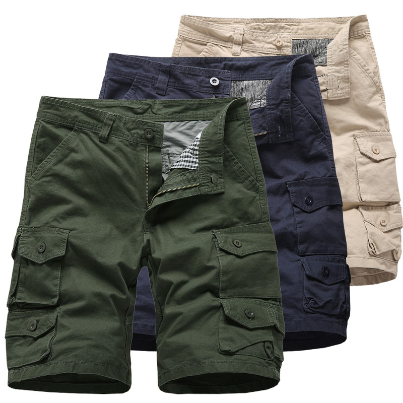 Men's Military Cargo Shorts Summer Army Green Cotton Shorts Zipper Multi-Pocket Shorts Homme Casual Bermuda Trousers Drop Ship