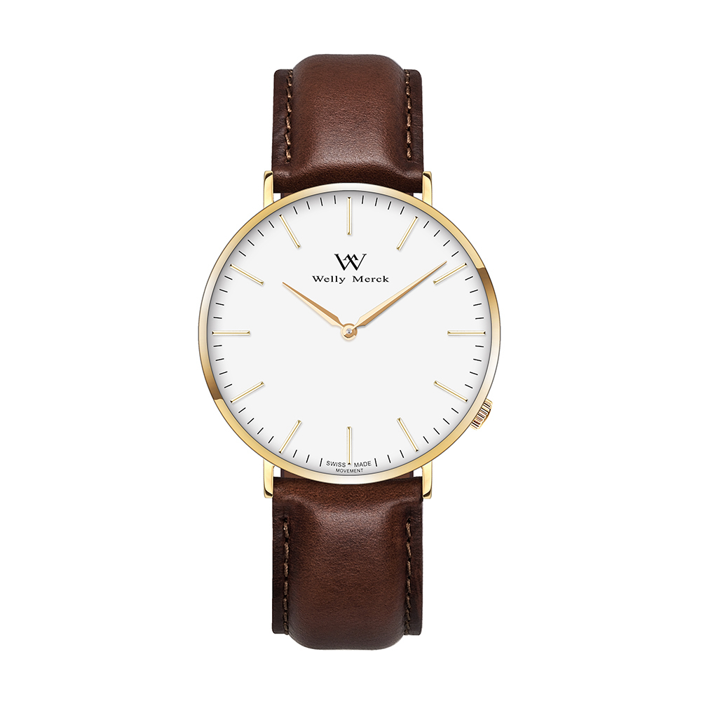 Welly Merck Quartz Watch Leather with Dark Brown Strap For Women цена и фото