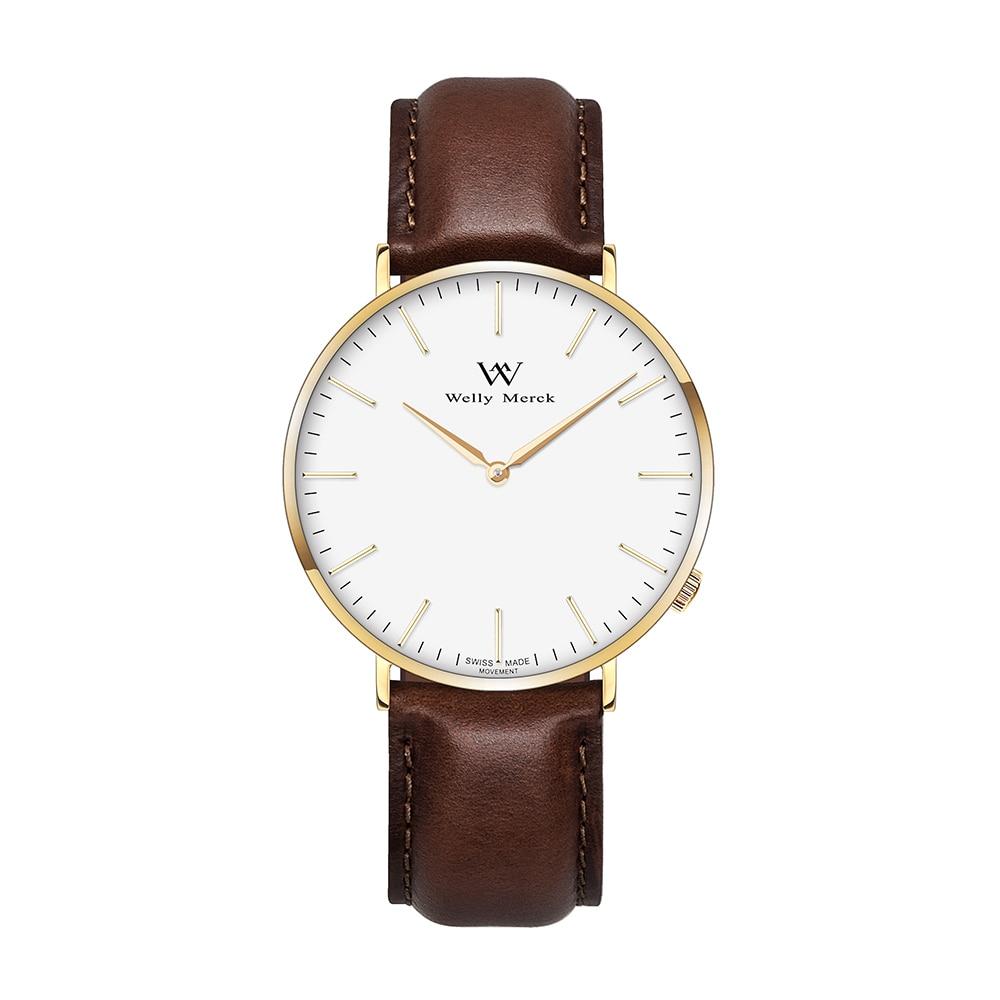 Welly Merck Quartz Watch Leather with Dark Brown Strap For Women