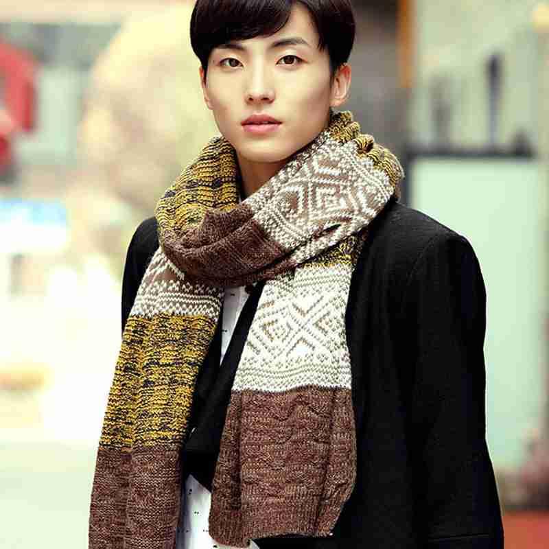 Men Scarf Winter Luxury Brand Knitted Scarf Foulard Homme Patchwork Bufandas Referal font b Tartan b