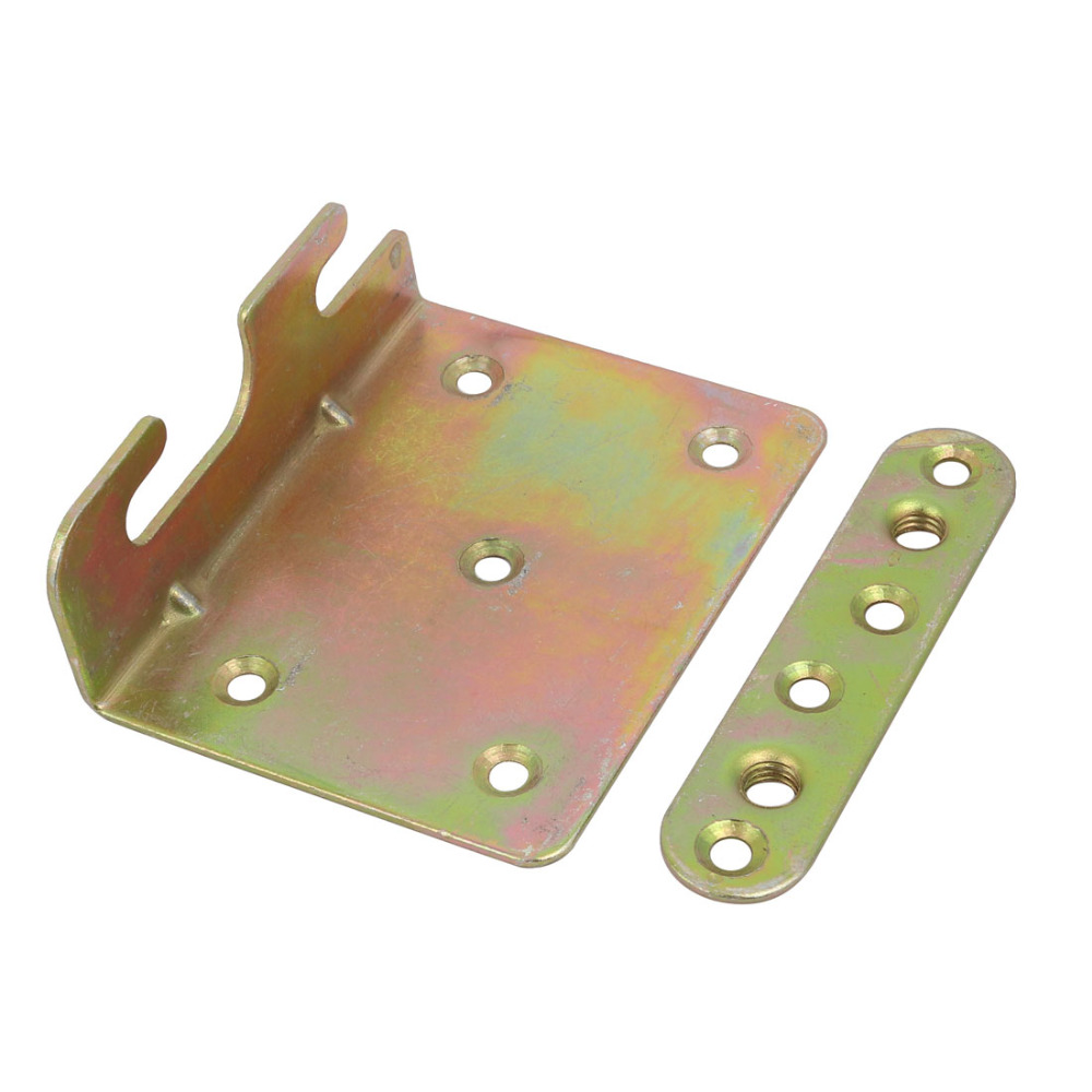 uxcell Iron, Zinc Plated 91mmx71mmx30mm Screw Fixed Bed Hinge Rail Brackets Connecting Fittings Bronze Tone 2 Sets Hot Sale