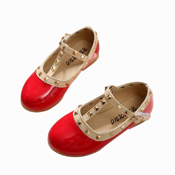 All Sizes 21-36 Girls Shoes New 2017 Spring Children Shoes Girl Rivets Princess Flat Shoes T-tied Style Girls Summer Sandals