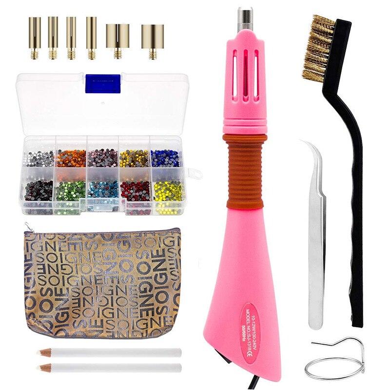 2000 pcs Colorido Hot Fix Strass Conjunto Completo Com Aplicador Hotfix Cristal Ferro Em Strass para Vestido de Noiva B1094