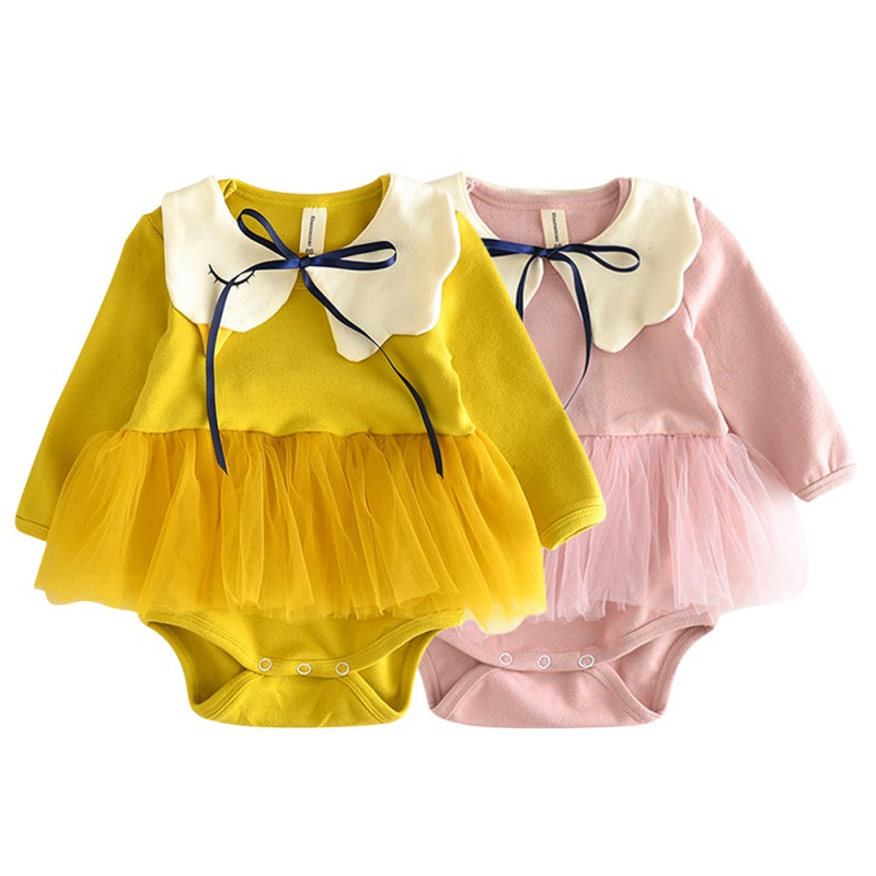 20182018 New Kids Baby Clothes Cotton 0-24 Months Girls Bodysuits Newborn Cute Lace Long Sleeve Clothes