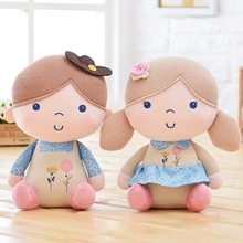 Free shipping 30cm cute couple girl&boy action figure with cloth plush toy soft kids stuffed doll girls birthday&christmas gift