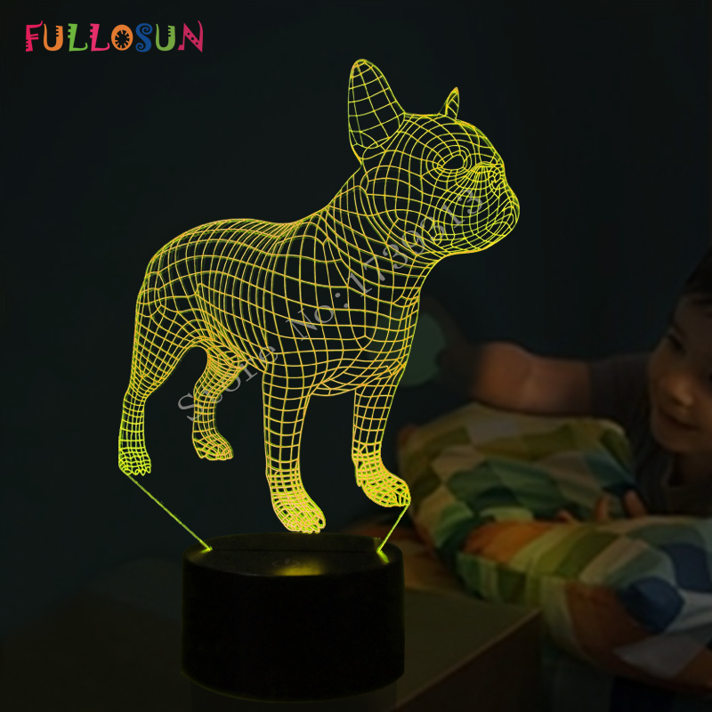 Frence Bulldog 3D Lampada Da Tavolo LED Cane Colorato Nightlight Bambini Regalo Di Compleanno USB Sonno Illuminazione Domestica Della Decorazione