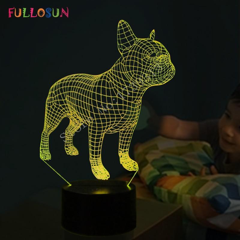Frence Bulldog 3D Table Lamp LED Colorful Dog Nightlight Kids Birthday Gift USB Sleep Lighting Home Decoration
