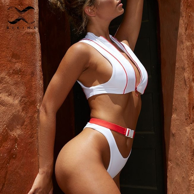 Zipper high waist bikinis Sports swimwear Sexy push up swimsuit White bathing suit women Brazil thong bikini 4