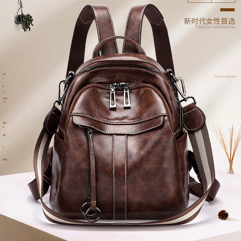 2019 college style school Bags Teenagers ladies travel High quality women 39 s genuine leather cow skin soft casual small backpack in Backpacks from Luggage amp Bags