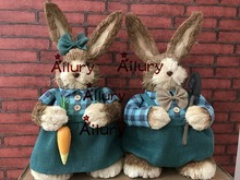 Free shipping high 45cm super big Easter decorations rabbit straw rabbit window ornaments party supplies wholesale