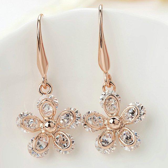 Women's Crystal Rose Vintage Style Flower Long Earrings