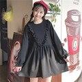 Primavera suave japonés hermana negro dress viento escuela muñeca floja ruffles lindo coreano de manga larga plisada vestidos