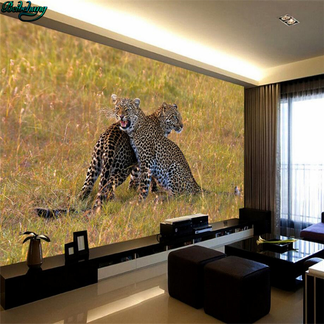 Beibehang Large Custom Wallpapers Hd Photography Two Leopard Wildlife Backdrop Living Room Bedroom Home Decor