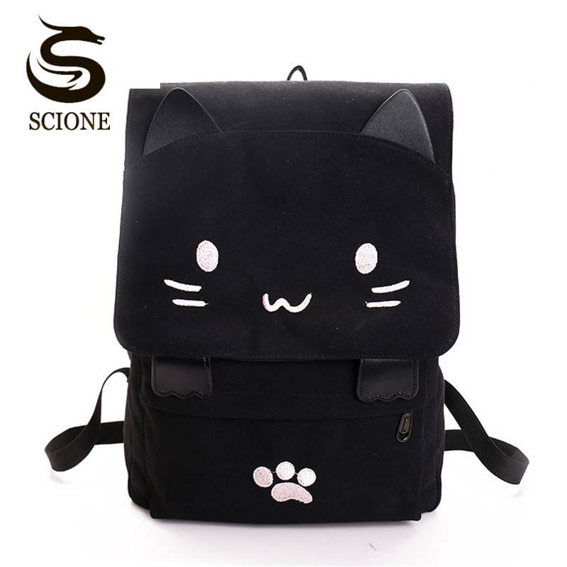 Vrouwen Cute Cat Rugzak Canvas Kawaii Rugzakken Schooltas voor Student Tieners Lovely Rucksack Cartoon Bookbags Mochilas