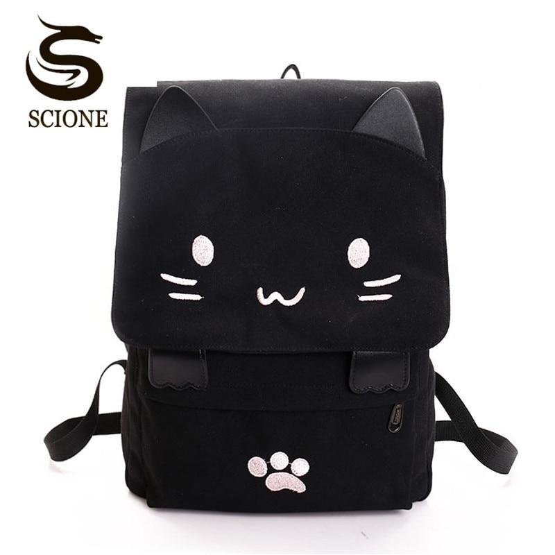 Women Cute Cat Backpack Canvas Kawaii Backpacks School Bag For Student Teenagers Lovely Rucksack Cartoon Bookbags Mochilas