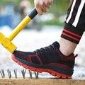 Мужские уличные противоскользящие стальные проколы  строительные ботинки  рабочая обувь  мужские кроссовки  Мужская дышащая защитная обув...