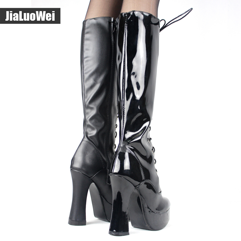 330bcc9658 heel platform PU Leather lace up Knee High Solid Zipper Boots Exotic ,Fetish,Sexy,Shoes-in Knee-High Boots from Shoes on Aliexpress.com |  Alibaba Group