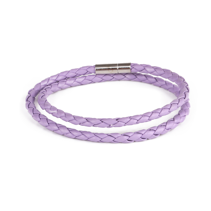 Yellow Pink Purple Braided Leather Bracelet