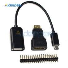 3 1 Ahududu Pi Sıfır Adaptör Kiti Mini HDMI HDMI adaptörü + mikro USB USB dişi Kablo + GPIO header Ahududu Pi için W