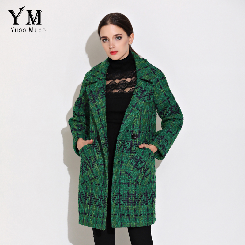 YuooMuoo High Quality Wool Coat Women Slim Medium long Tweed ...