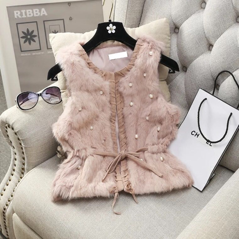 MUMUZI Women Genuine Natural Real Rabbit Fur Vests Slim Waist Beaded Waistcoat Short Gilet Coats With Tassels Raccoon Fur Collar