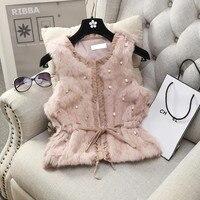 MUMUZI Women Genuine Natural Real rabbit fur Vests slim waist beaded Waistcoat short gilet coats with tassels Raccoon Fur collar