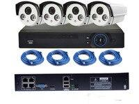 4CH POE NVR Kit 720P POE Camera System HD Security IP Camera System CCTV Monitor System