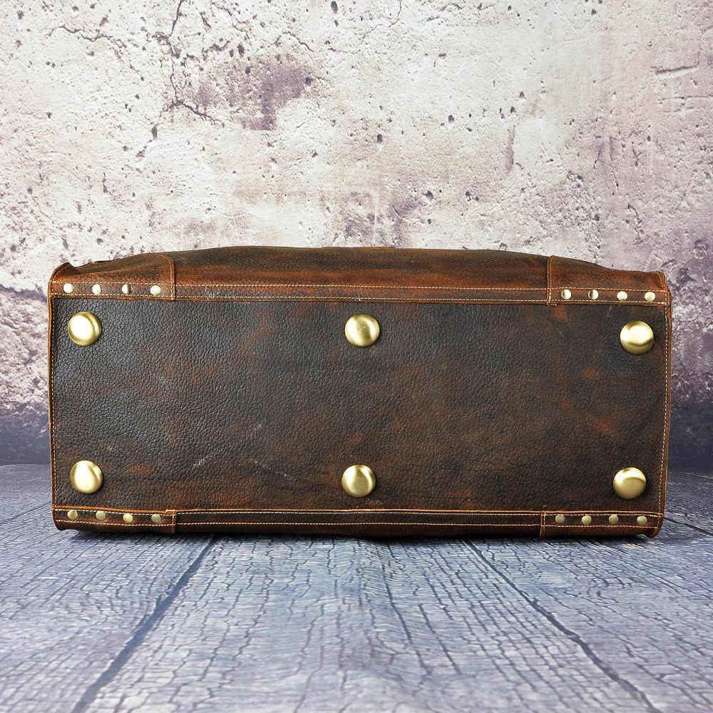 Calidad Crazy Horse cuero masculino Heavy Duty Vintage diseño bolso Duffle equipaje bolsa de viaje de moda maleta Tote Bag A8151