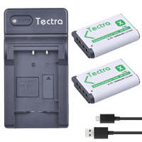 Tectra 2Pcs NPBX1 NP BX1 Bateria Pack USB Digital Charger For Sony HDR AS100v AS30 AS15