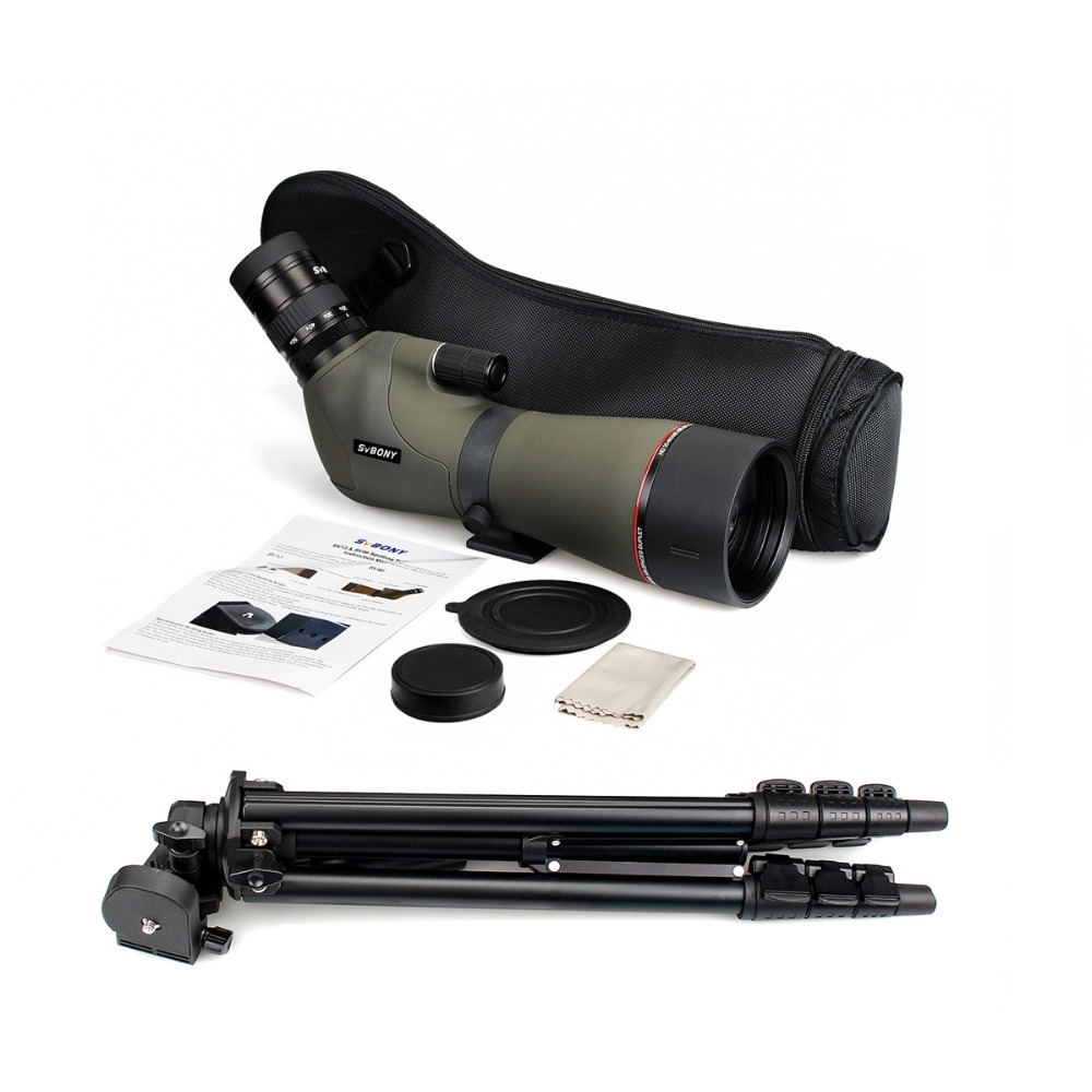 "Image 5 - SVBONY 20 60x80 Zoom Spotting Scope Nitrogen Filled Water proof Telescope Dual Focus Mechanism Metal Body w/ 54"" Aluminum Tripod-in Spotting Scopes from Sports & Entertainment"