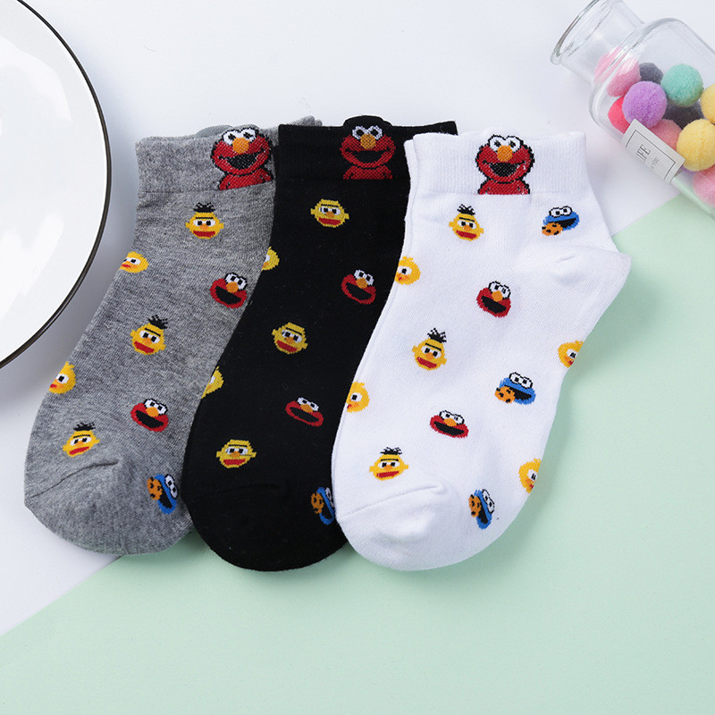 2020 Women Cute Sesame Street Socks  Monster Fashion Novelty Funny Women Sock Autumn Comfortable Breathable White Black Socks
