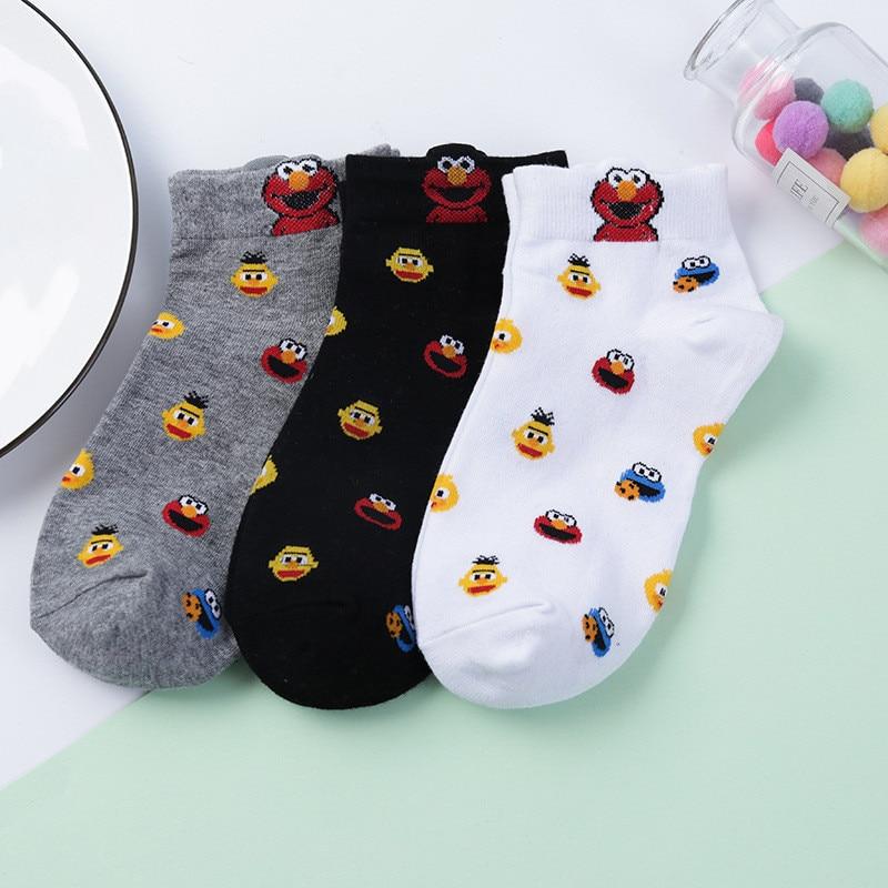2020 Women Cute Sesame Street Socks  Monster Fashion Novelty Funny Women Sock Autumn Comfortable Breathable White Black Socks