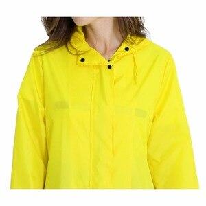 Image 2 - Womens Stylish Solid Yellow Rain Poncho Waterproof Raincoat with Hood and Pockets