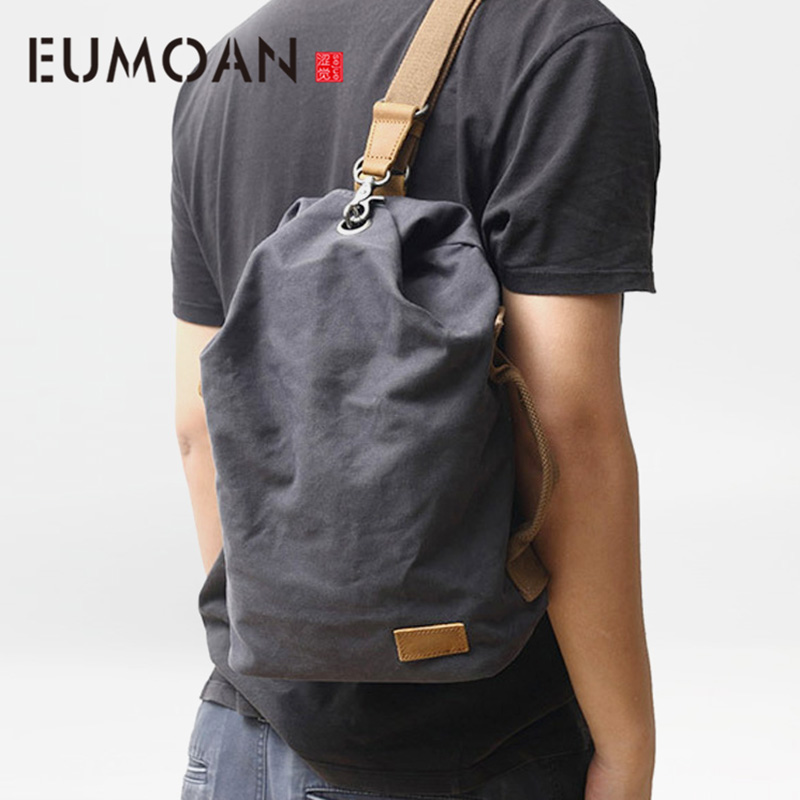 EUMOAN Simple Japanese art canvas chest bag male fashion casual oblique cross bucket bag outdoor shoulder