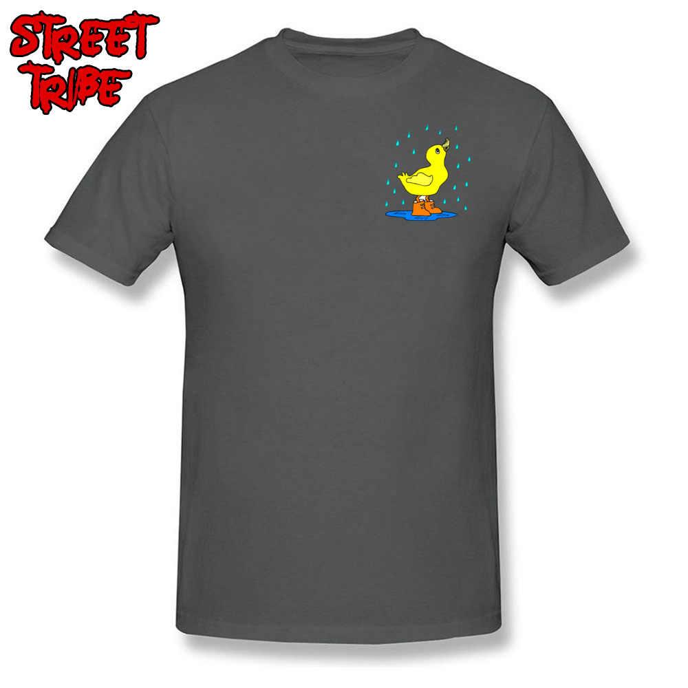 Summer/Autumn T Shirt Men Blue T-shirt Duck In The Rain Cartoon Tops Print Cotton Tees Kawaii Baby Father Day Clothes XXXL