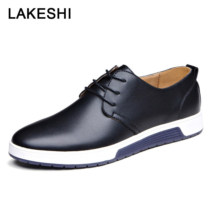 LAKESHI Luxury Brand Men Shoes Casual Leather Shoes Men Fashion Moccasins Loafers Trendy Black Flat Shoes For Men Oxfords Shoes-in Oxfords from Shoes