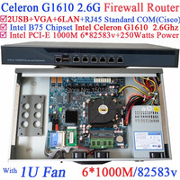 B75 чипсет 1U network server barebone маршрутизатор с Intel Celeron G1610 2.6 ГГц 6*1000 м 82583 В LAN wayos pfsense ROS