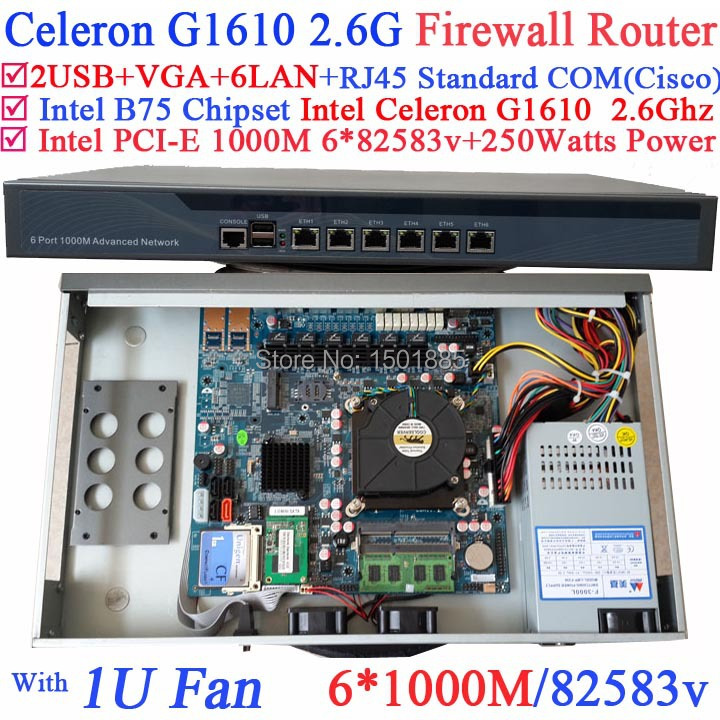 B75 chipset 1U network server barebone router with Intel Celeron G1610 2.6Ghz 6*1000M 82583v Lan Wayos PFSense ROS