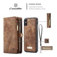 De luxe Pour iphone 6 6 s 7 S 8 x plus cas Véritable en cuir Fermeture Éclair Multifonctionnel Portefeuille Carte Poche 2 En Conception de Couverture Arrière de Cas