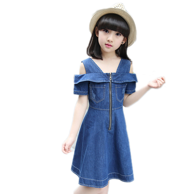 summer dress girl 2017 new baby girls clothes solid denim kids dresses for girls short sleeve zipper gilrs princess dress 5-11T 2016 fashion winter jacket men warm cotton coat parka men casual fur collar jacket thick hooded detachable cap coat outerwear