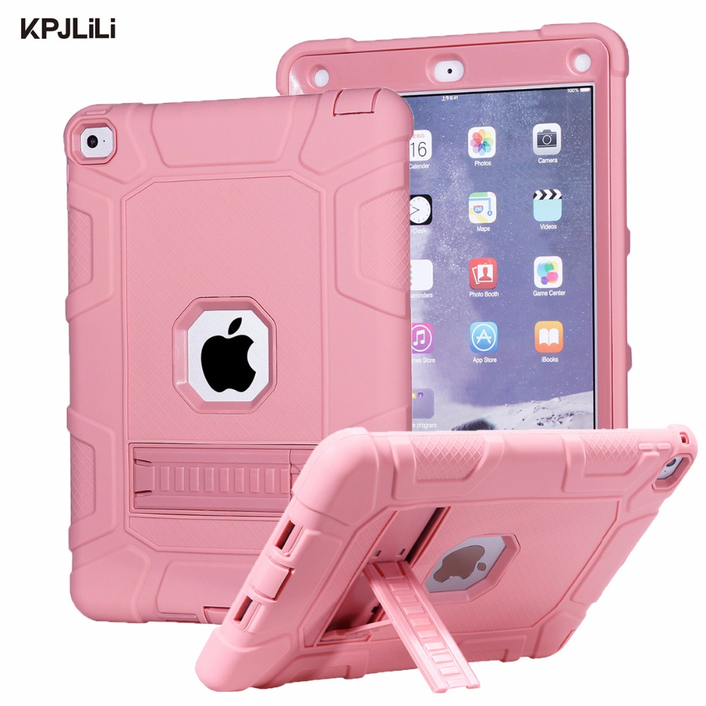 Shockproof Case for Apple iPad Air 2 Air2 Kids Safe Silicone with Stand Heavy Duty Armor Defender Hard Case Cover for iPad