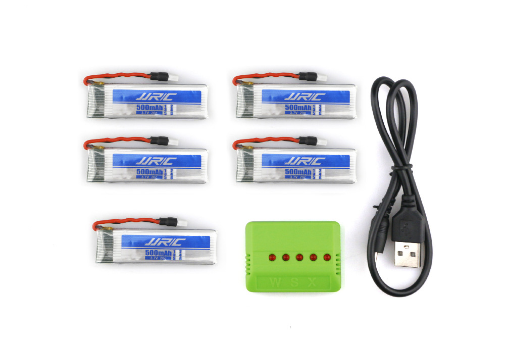 ФОТО 5 pcs Original JJRC H37 3.7V 500mAh 30C LiPo Battery With 5 IN 1 Charger For H37 RC Quadcopter Spare Parts