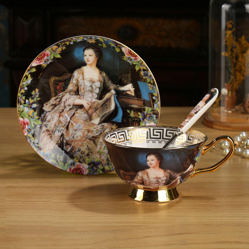 Luxury character oil painting Coffee cups set Court figure bone china tea cup set Porcelain cups and saucers Afternoon tea party