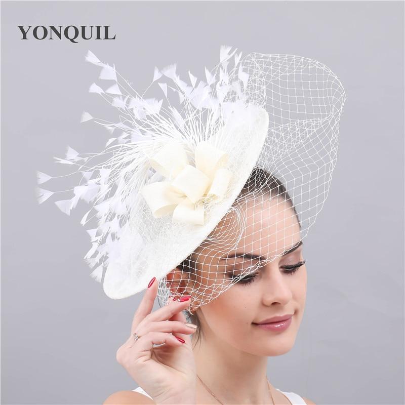 Ladies Women/'s Elegant Fascinator Hairclip  Veil Hat Feather Mesh Wedding Races
